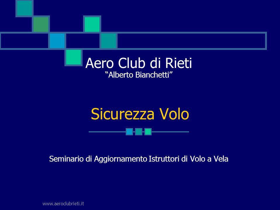 www.aeroclubrieti.it Aero Club di Rieti Alberto Bianchetti Seminario di Aggiornamento Istruttori di Volo a Vela Sicurezza Volo