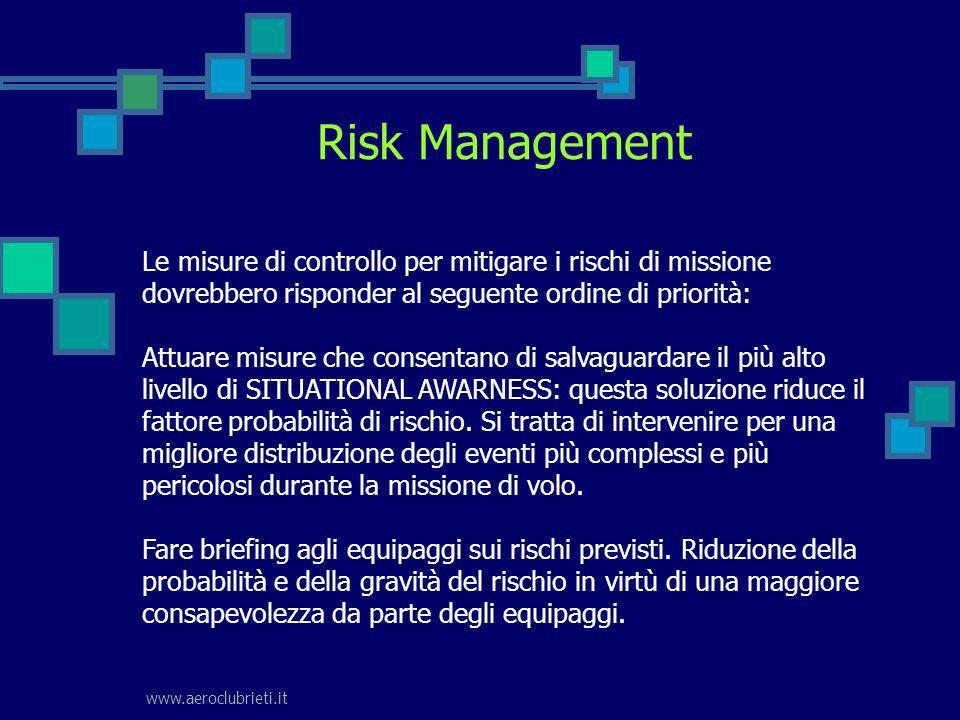 www.aeroclubrieti.it Risk Management Le misure di controllo per mitigare i rischi di missione dovrebbero risponder al seguente ordine di priorità: Att