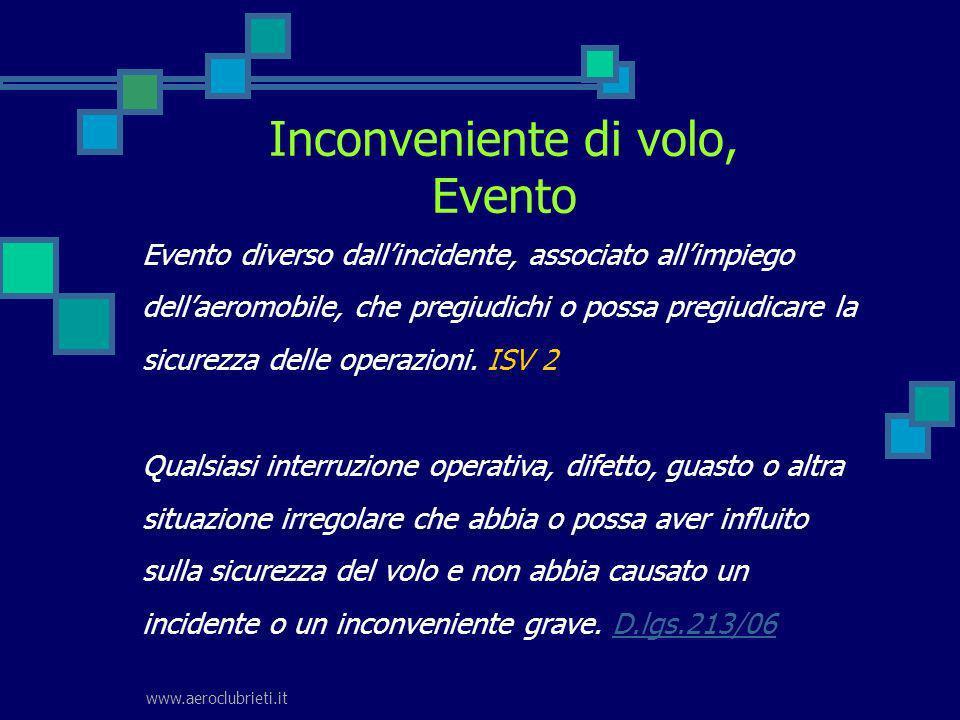 www.aeroclubrieti.it Inconveniente di volo, Evento Evento diverso dallincidente, associato allimpiego dellaeromobile, che pregiudichi o possa pregiudi