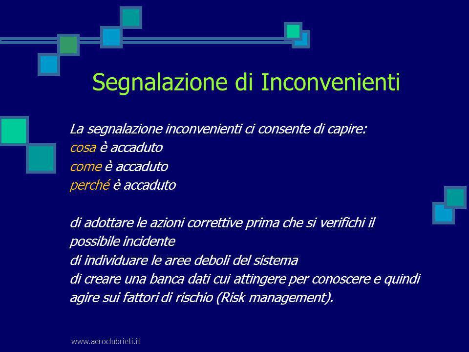 www.aeroclubrieti.it Segnalazione di Inconvenienti