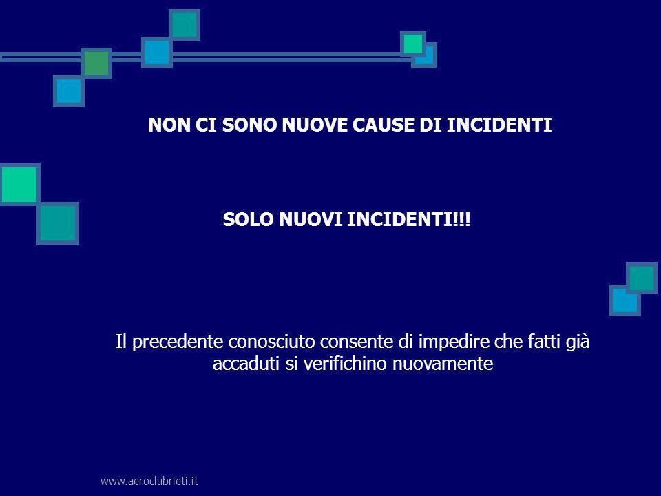 www.aeroclubrieti.it NON CI SONO NUOVE CAUSE DI INCIDENTI SOLO NUOVI INCIDENTI!!! Il precedente conosciuto consente di impedire che fatti già accaduti