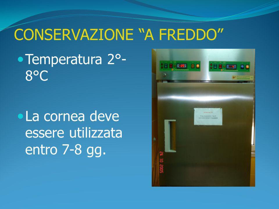 CONSERVAZIONE A FREDDO Temperatura 2°- 8°C La cornea deve essere utilizzata entro 7-8 gg.