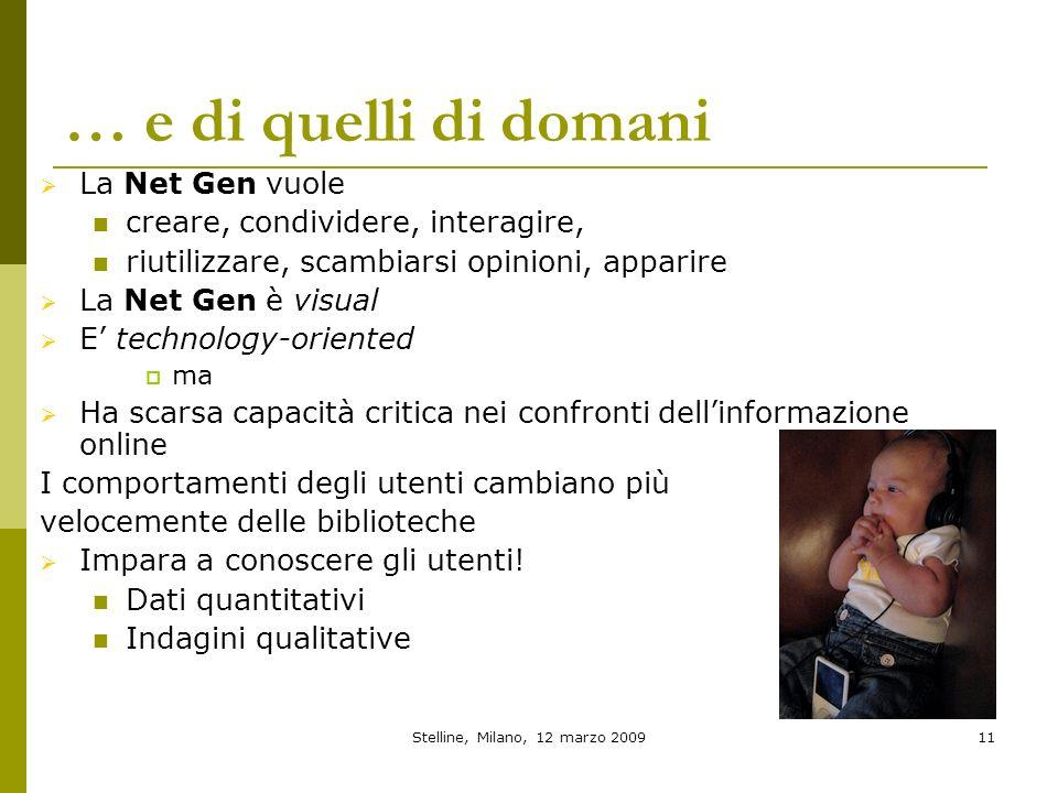 Stelline, Milano, 12 marzo 200911 … e di quelli di domani La Net Gen vuole creare, condividere, interagire, riutilizzare, scambiarsi opinioni, apparir