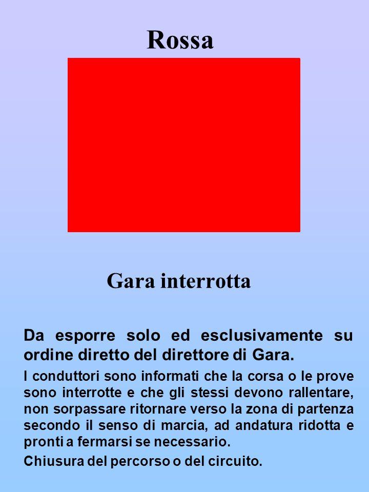 Verde Via libera a) Viene presentata al Direttore di Gara durante la ricognizione del percorso ed indica la piena operatività del tratto di percorso relativo alla postazione.