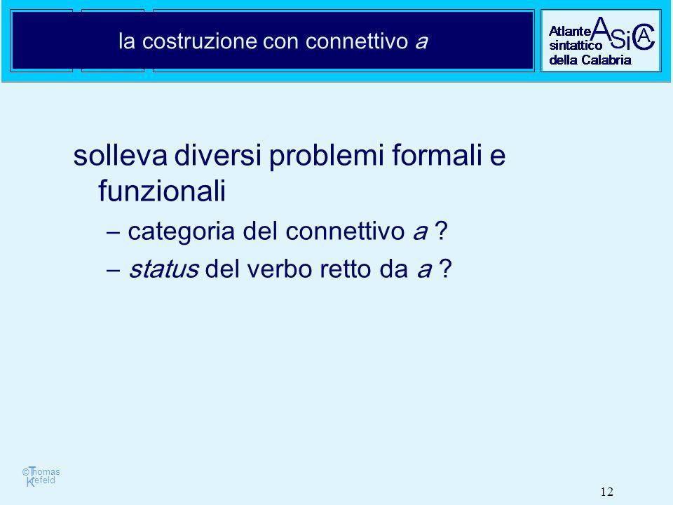 © T K refeld homas 12 la costruzione con connettivo a solleva diversi problemi formali e funzionali –categoria del connettivo a .