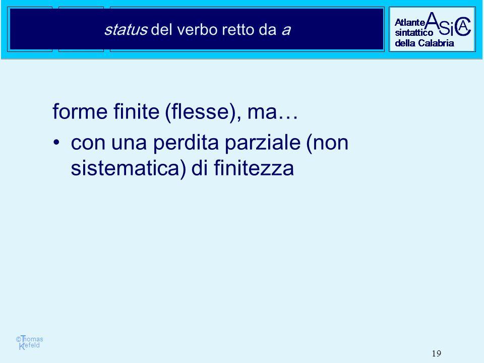 © T K refeld homas 19 status del verbo retto da a forme finite (flesse), ma… con una perdita parziale (non sistematica) di finitezza
