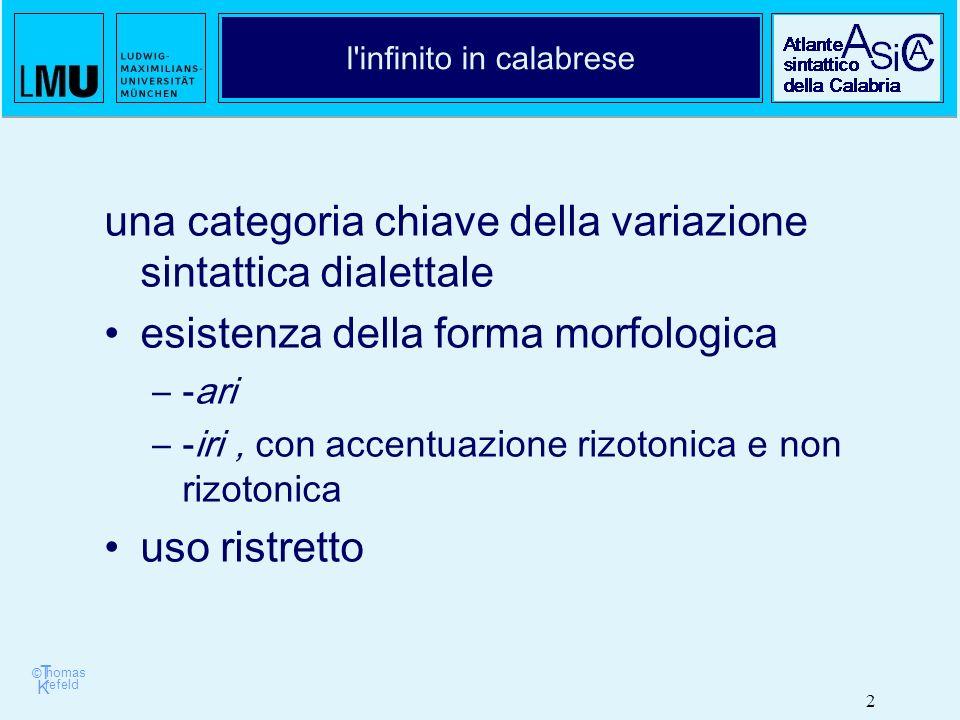 © T K refeld homas 2 l infinito in calabrese una categoria chiave della variazione sintattica dialettale esistenza della forma morfologica –-ari –-iri, con accentuazione rizotonica e non rizotonica uso ristretto