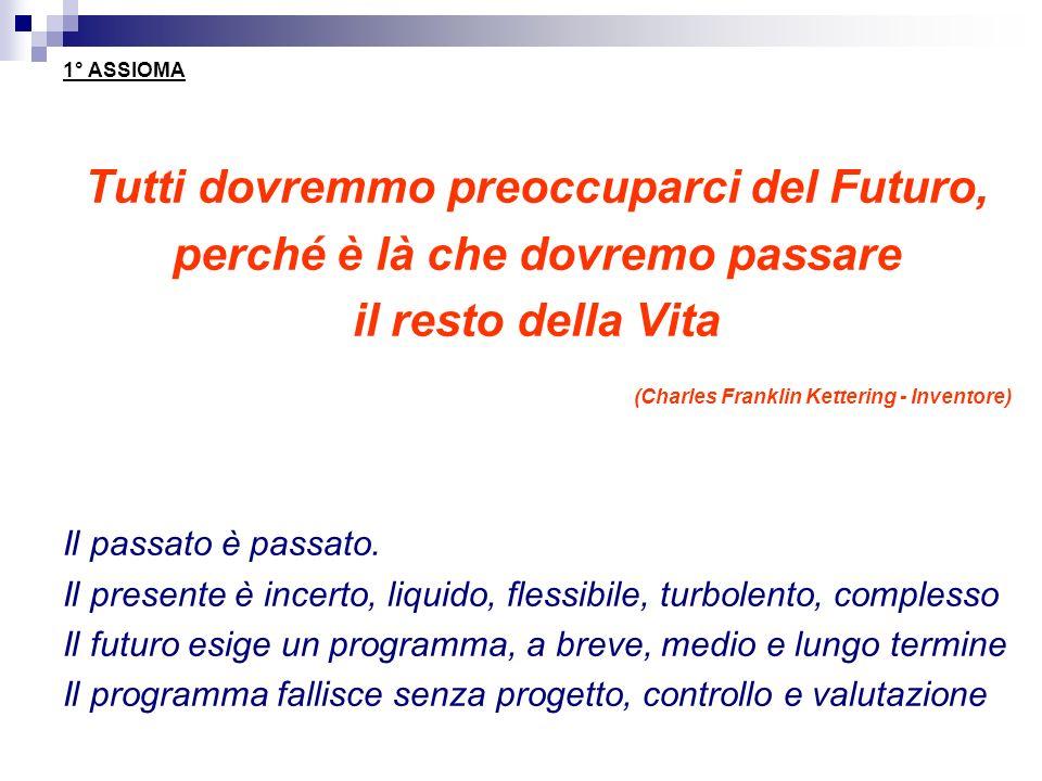 1° ASSIOMA Tutti dovremmo preoccuparci del Futuro, perché è là che dovremo passare il resto della Vita (Charles Franklin Kettering - Inventore) Il pas