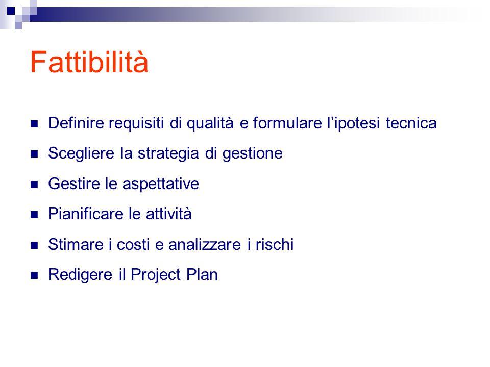 Fattibilità Definire requisiti di qualità e formulare lipotesi tecnica Scegliere la strategia di gestione Gestire le aspettative Pianificare le attività Stimare i costi e analizzare i rischi Redigere il Project Plan