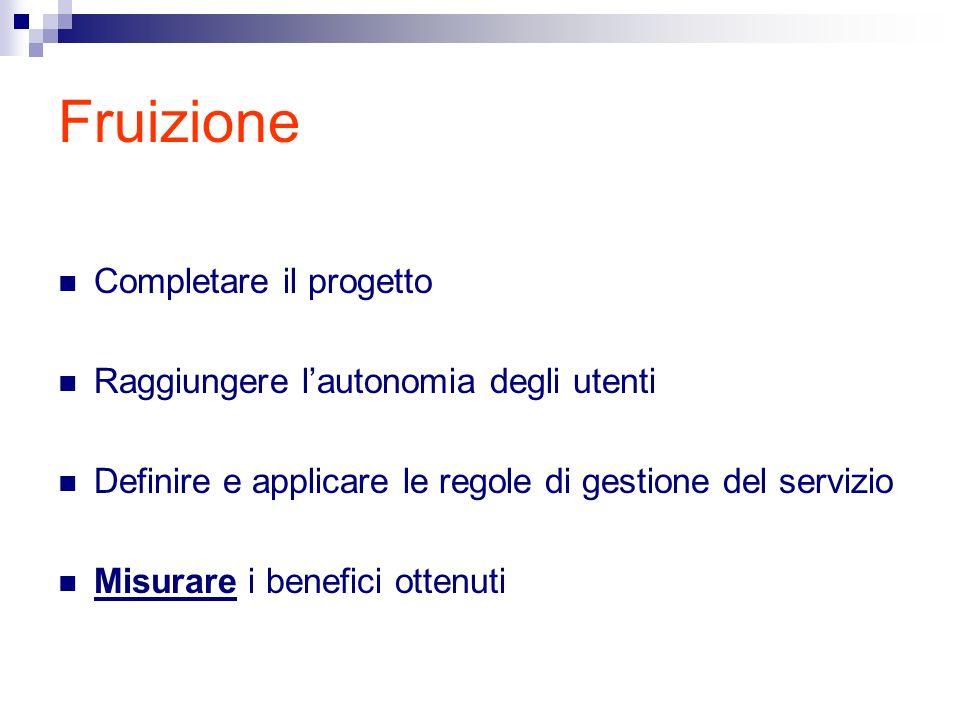 Fruizione Completare il progetto Raggiungere lautonomia degli utenti Definire e applicare le regole di gestione del servizio Misurare i benefici ottenuti