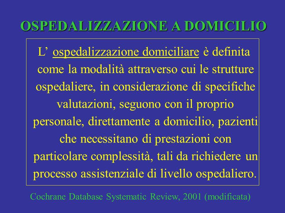 OSPEDALIZZAZIONE A DOMICILIO Lospedalizzazione domiciliare è definita come la modalità attraverso cui le strutture ospedaliere, in considerazione di s