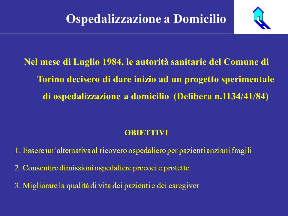 Nel mese di Luglio 1984, le autorità sanitarie del Comune di Torino decisero di dare inizio ad un progetto sperimentale di ospedalizzazione a domicili