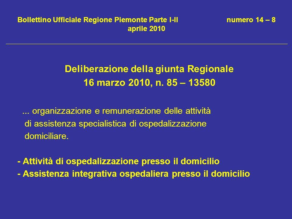 Bollettino Ufficiale Regione Piemonte Parte I-II numero 14 – 8 aprile 2010 Deliberazione della giunta Regionale 16 marzo 2010, n. 85 – 13580... organi