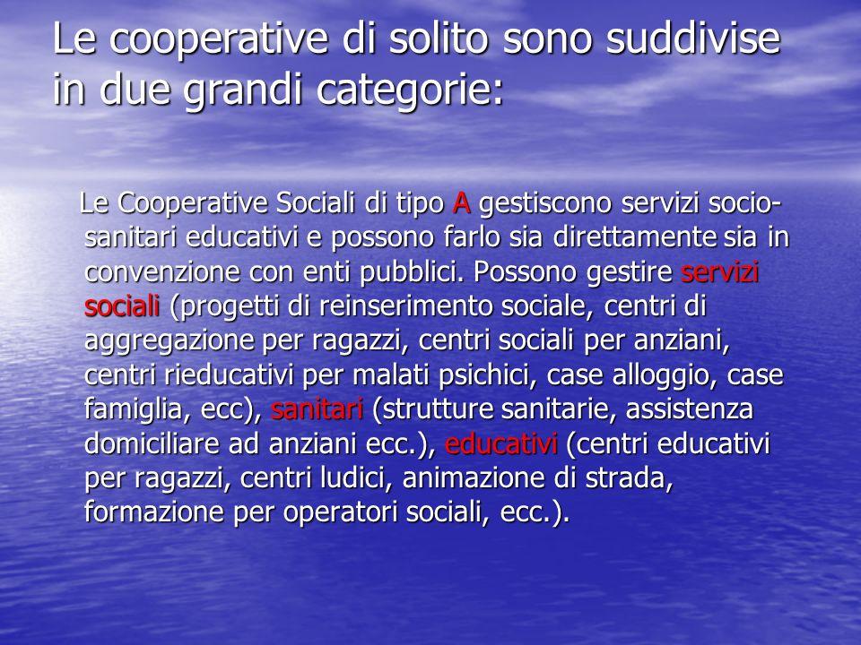 Le cooperative di solito sono suddivise in due grandi categorie: Le Cooperative Sociali di tipo A gestiscono servizi socio- sanitari educativi e possono farlo sia direttamente sia in convenzione con enti pubblici.