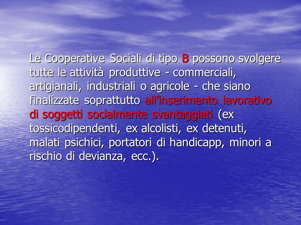 Le Cooperative Sociali di tipo B possono svolgere tutte le attività produttive - commerciali, artigianali, industriali o agricole - che siano finalizz