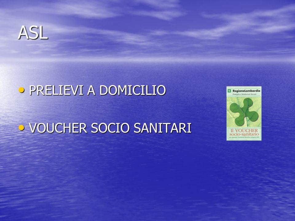 ASL PRELIEVI A DOMICILIO PRELIEVI A DOMICILIO VOUCHER SOCIO SANITARI VOUCHER SOCIO SANITARI