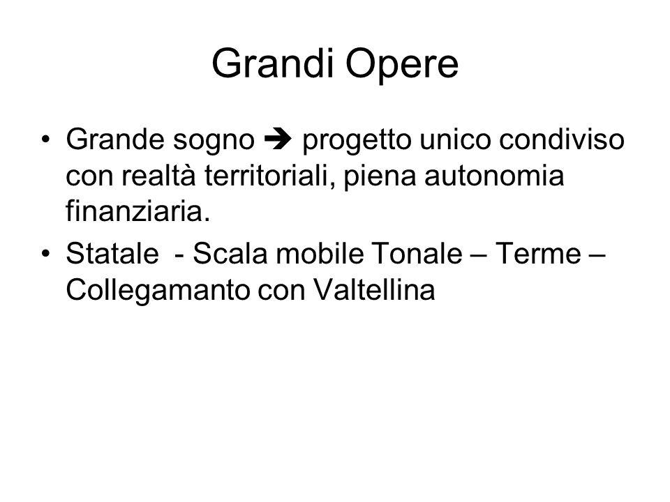 Grandi Opere Grande sogno progetto unico condiviso con realtà territoriali, piena autonomia finanziaria. Statale - Scala mobile Tonale – Terme – Colle