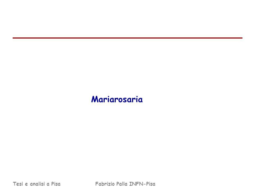 Tesi e analisi a PisaFabrizio Palla INFN-Pisa Mariarosaria