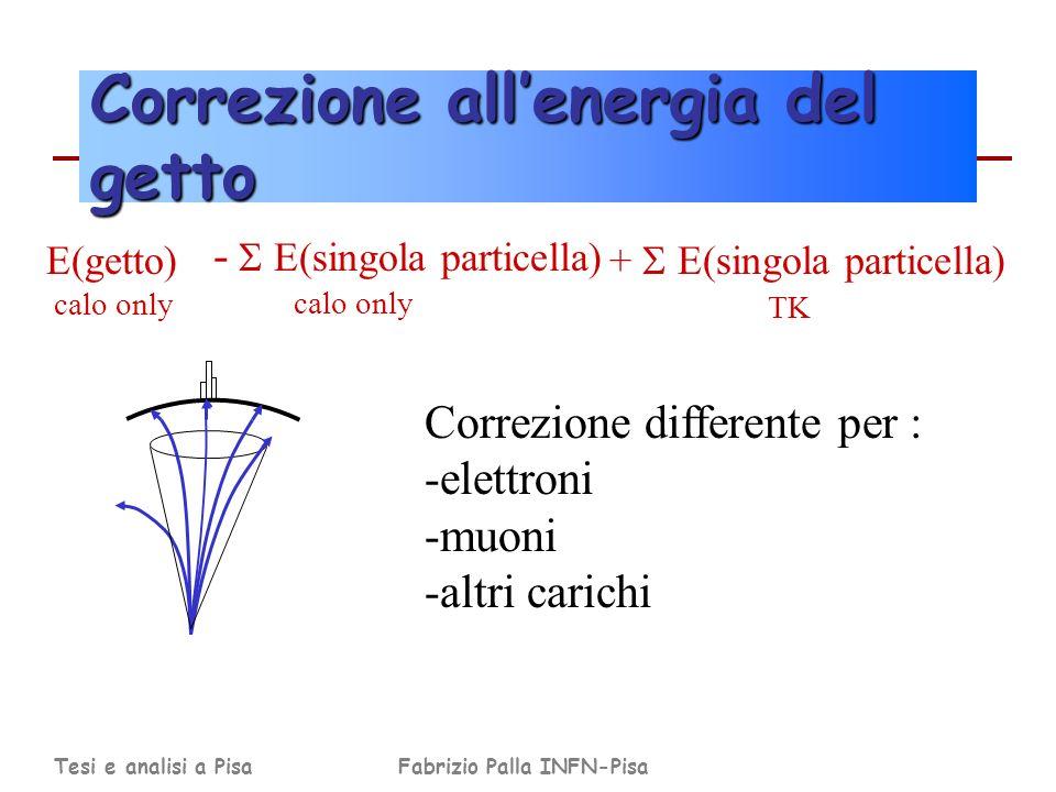 Tesi e analisi a PisaFabrizio Palla INFN-Pisa Correzione allenergia del getto + E(singola particella) TK E(getto) calo only - E(singola particella) calo only Correzione differente per : -elettroni -muoni -altri carichi