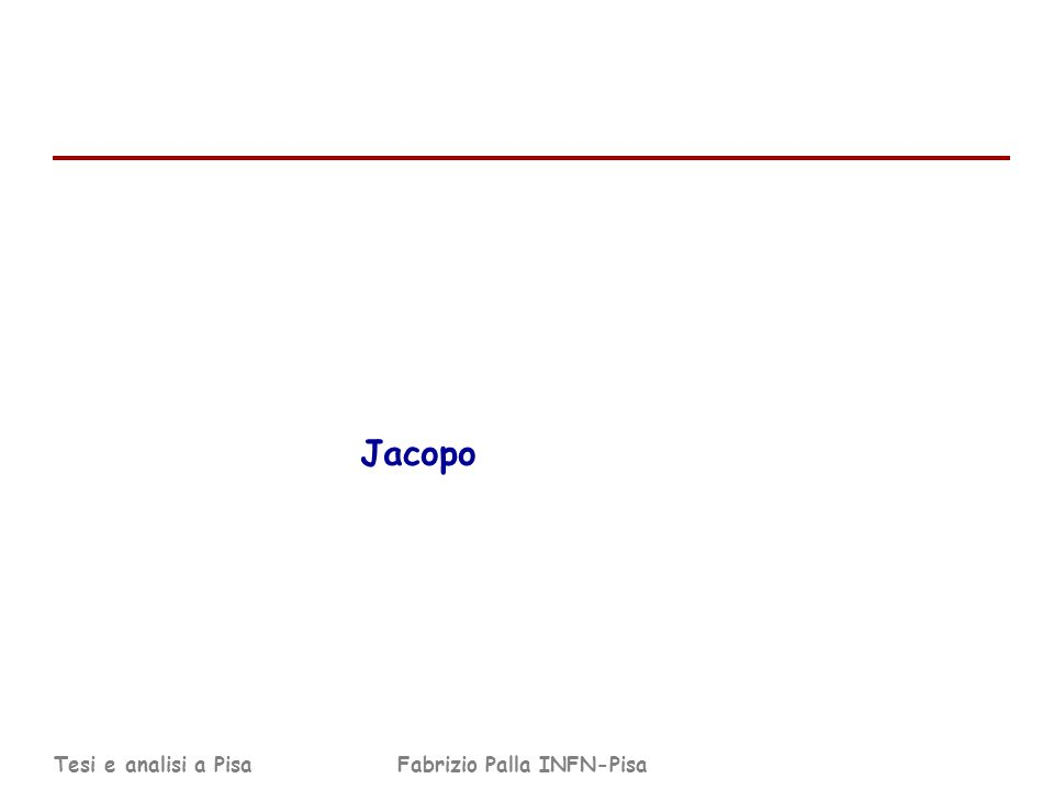 Tesi e analisi a PisaFabrizio Palla INFN-Pisa Jacopo