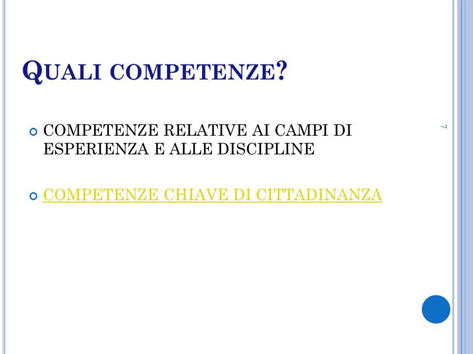Q UALI COMPETENZE ? COMPETENZE RELATIVE AI CAMPI DI ESPERIENZA E ALLE DISCIPLINE COMPETENZE CHIAVE DI CITTADINANZA 7