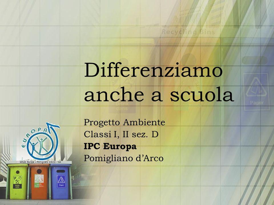 Istituto Europa – Pomigliano dArco - NA Differenziamo anche a scuola Progetto Ambiente Classi I, II sez. D IPC Europa Pomigliano dArco
