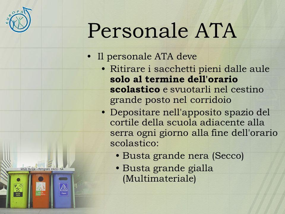 Istituto Europa – Pomigliano dArco - NA Personale ATA Il personale ATA deve Ritirare i sacchetti pieni dalle aule solo al termine dell'orario scolasti
