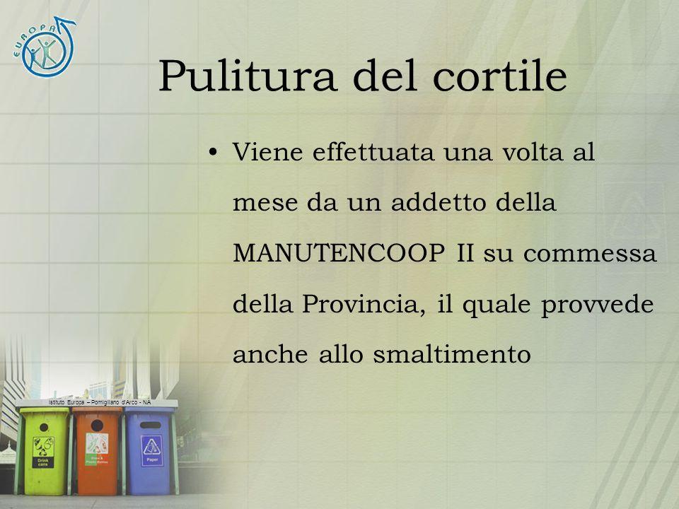 Istituto Europa – Pomigliano dArco - NA Pulitura del cortile Viene effettuata una volta al mese da un addetto della MANUTENCOOP II su commessa della P