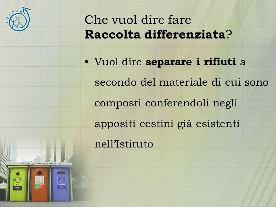 Istituto Europa – Pomigliano dArco - NA Che vuol dire fare Raccolta differenziata ? Vuol dire separare i rifiuti a secondo del materiale di cui sono c