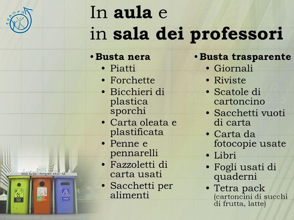 Istituto Europa – Pomigliano dArco - NA In aula e in sala dei professori Busta nera Piatti Forchette Bicchieri di plastica sporchi Carta oleata e plas