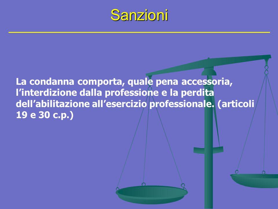 Sanzioni La condanna comporta, quale pena accessoria, linterdizione dalla professione e la perdita dellabilitazione allesercizio professionale.