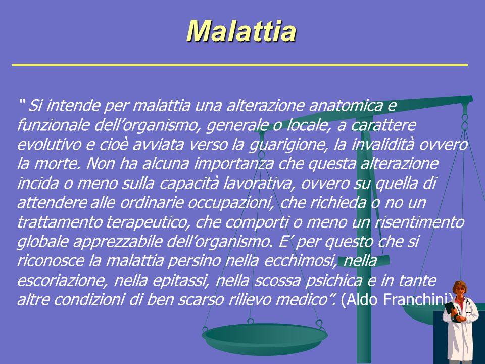 Malattia Si intende per malattia una alterazione anatomica e funzionale dellorganismo, generale o locale, a carattere evolutivo e cioè avviata verso la guarigione, la invalidità ovvero la morte.
