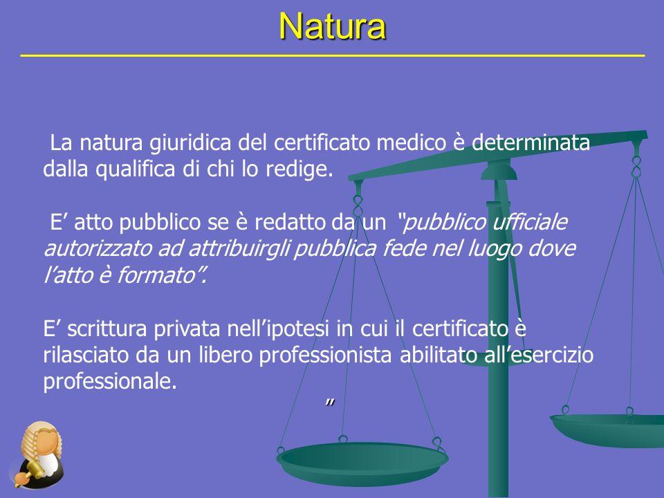 Limiti Il limite oggettivo della certificazione è rappresentato dalloggetto stesso del certificato che, in quanto promanazione dellattività medica, ha rilievo esclusivamente medico-biologico.