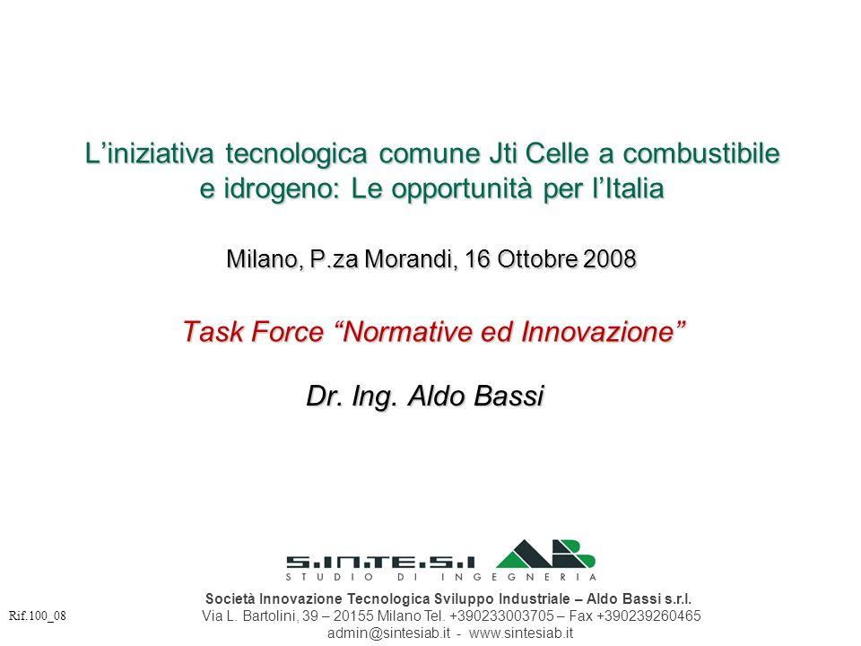 Liniziativa tecnologica comune Jti Celle a combustibile e idrogeno: Le opportunità per lItalia Milano, P.za Morandi, 16 Ottobre 2008 Task Force Normat