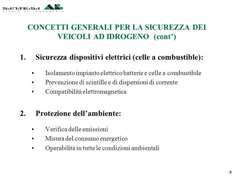 CONCETTI GENERALI PER LA SICUREZZA DEI VEICOLI AD IDROGENO (cont) 1.Sicurezza dispositivi elettrici (celle a combustible): Isolamento impianto elettri