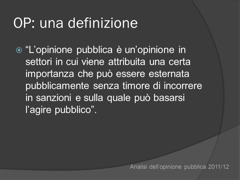 OP: una definizione Lopinione pubblica è unopinione in settori in cui viene attribuita una certa importanza che può essere esternata pubblicamente senza timore di incorrere in sanzioni e sulla quale può basarsi lagire pubblico.