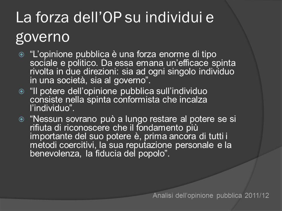 La forza dellOP su individui e governo Lopinione pubblica è una forza enorme di tipo sociale e politico.