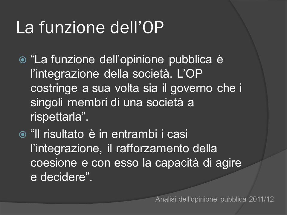 La funzione dellOP La funzione dellopinione pubblica è lintegrazione della società. LOP costringe a sua volta sia il governo che i singoli membri di u