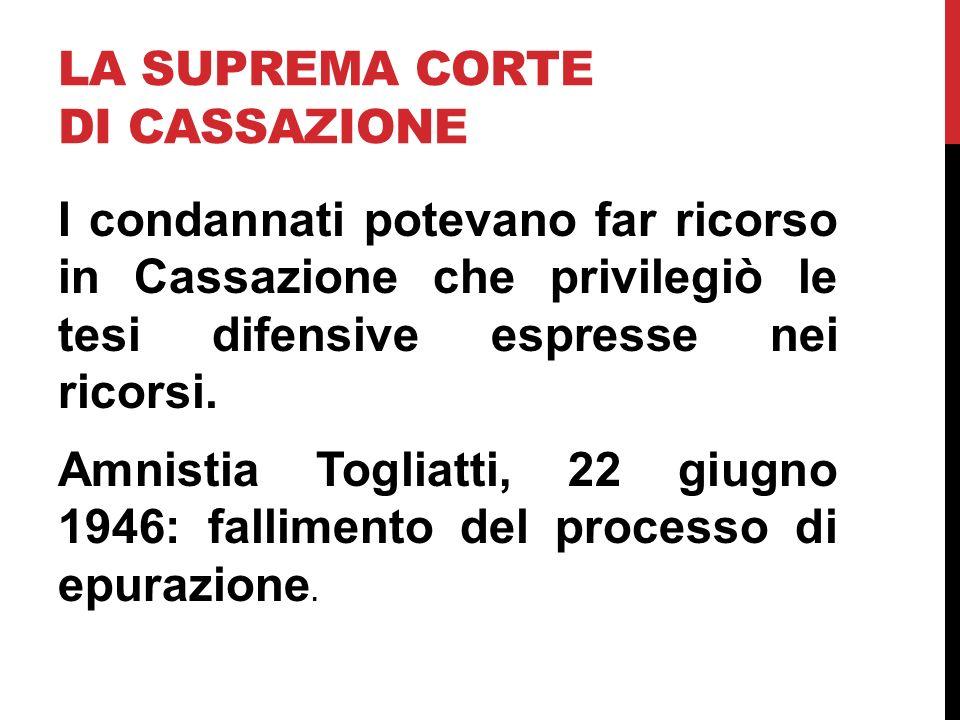 LA SUPREMA CORTE DI CASSAZIONE I condannati potevano far ricorso in Cassazione che privilegiò le tesi difensive espresse nei ricorsi. Amnistia Togliat
