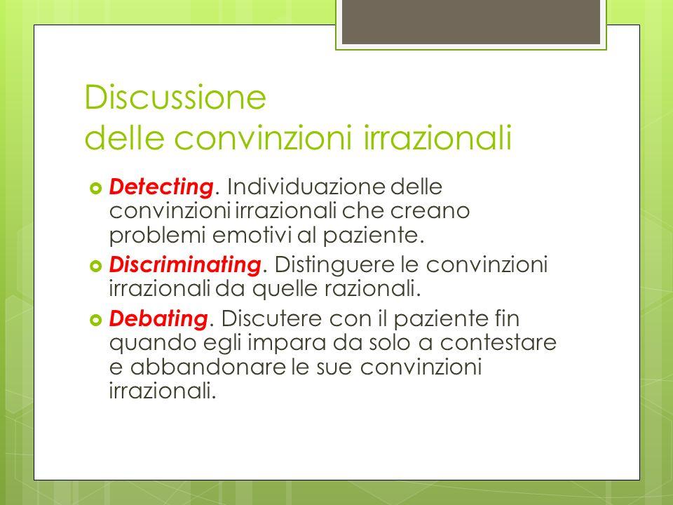 Discussione delle convinzioni irrazionali Detecting. Individuazione delle convinzioni irrazionali che creano problemi emotivi al paziente. Discriminat