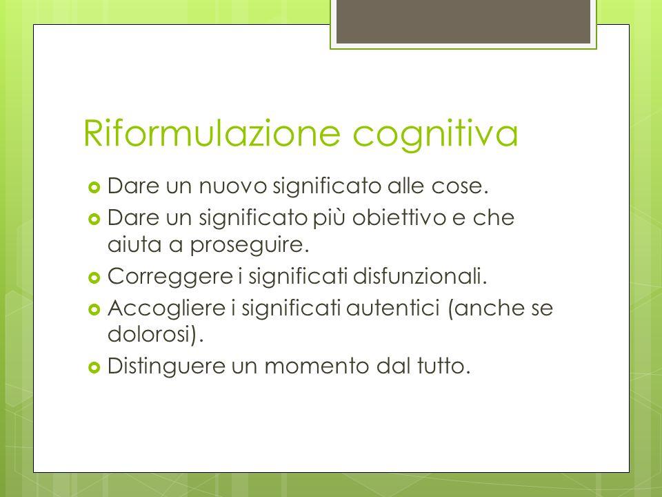 Riformulazione cognitiva Dare un nuovo significato alle cose. Dare un significato più obiettivo e che aiuta a proseguire. Correggere i significati dis