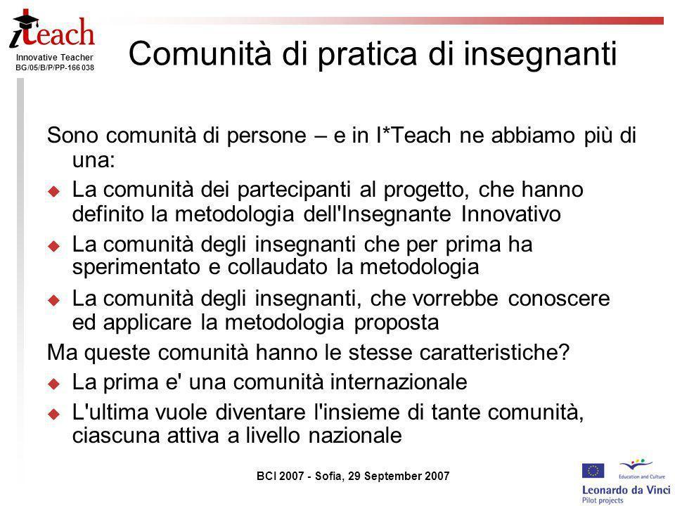 Innovative Teacher BG/05/B/P/PP-166 038 BCI 2007 - Sofia, 29 September 2007 Italy https://i-teach.unige.it