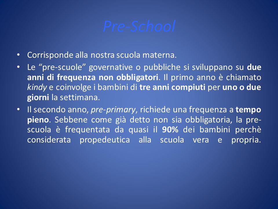 Pre-School Corrisponde alla nostra scuola materna. Le pre-scuole governative o pubbliche si sviluppano su due anni di frequenza non obbligatori. Il pr