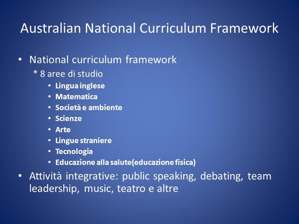 Australian National Curriculum Framework National curriculum framework * 8 aree di studio Lingua inglese Matematica Società e ambiente Scienze Arte Li