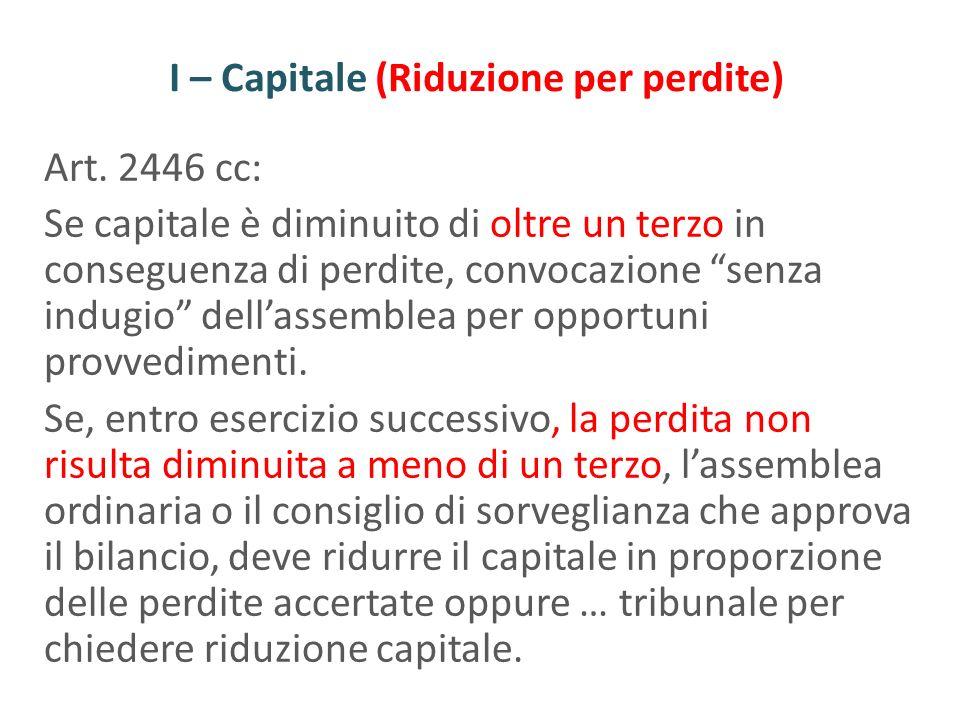 I – Capitale (Riduzione per perdite) Art. 2446 cc: Se capitale è diminuito di oltre un terzo in conseguenza di perdite, convocazione senza indugio del