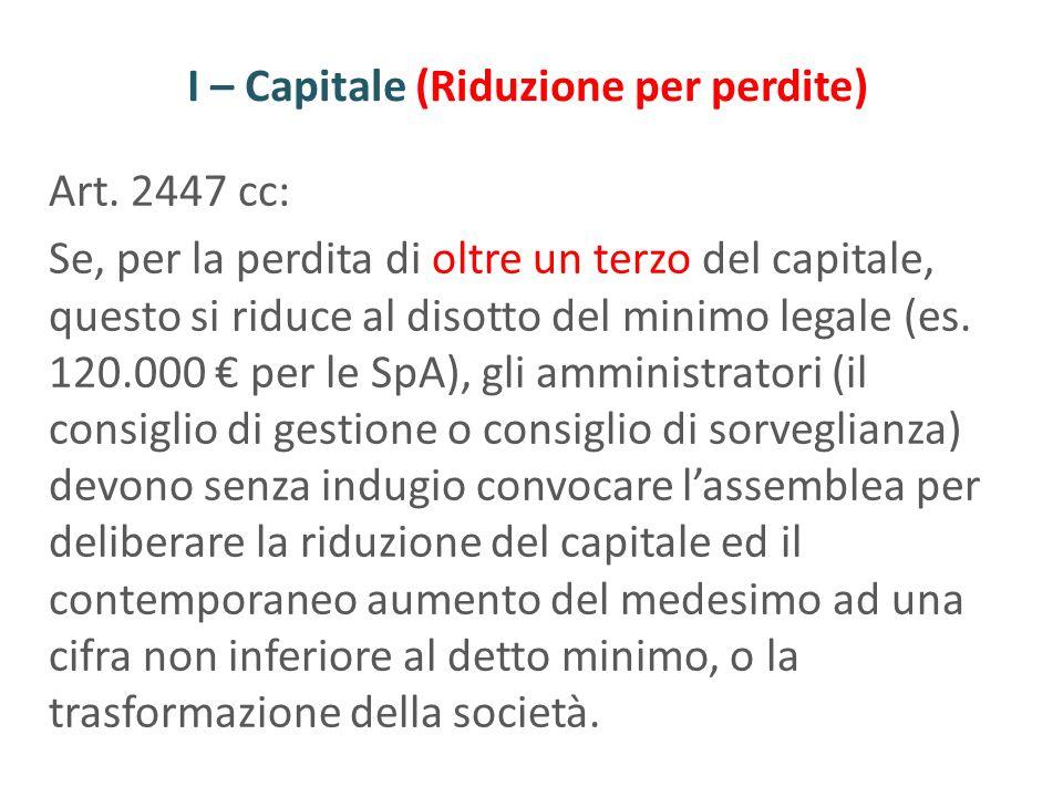 I – Capitale (Riduzione per perdite) Art. 2447 cc: Se, per la perdita di oltre un terzo del capitale, questo si riduce al disotto del minimo legale (e