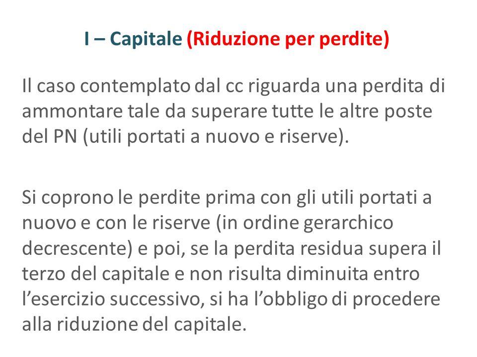 I – Capitale (Riduzione per perdite) Il caso contemplato dal cc riguarda una perdita di ammontare tale da superare tutte le altre poste del PN (utili