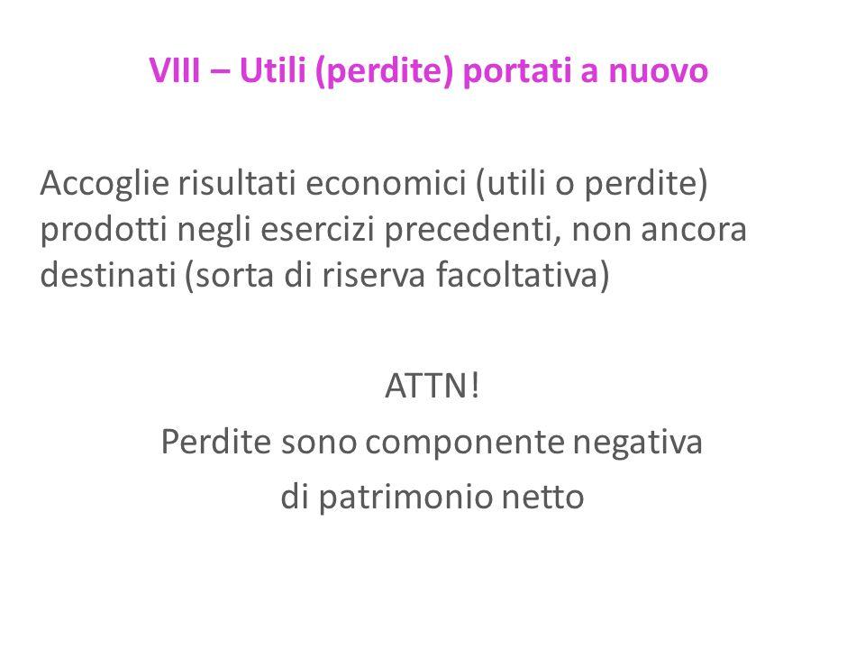 VIII – Utili (perdite) portati a nuovo Accoglie risultati economici (utili o perdite) prodotti negli esercizi precedenti, non ancora destinati (sorta