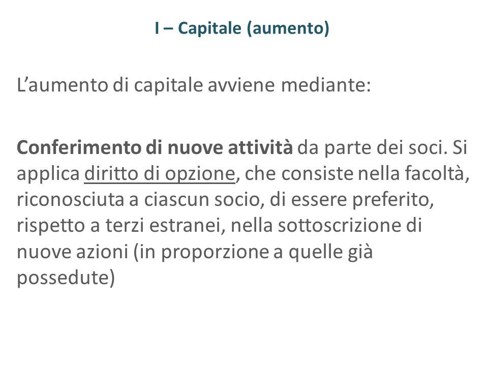 I – Capitale (aumento) Laumento di capitale avviene mediante: Conferimento di nuove attività da parte dei soci. Si applica diritto di opzione, che con