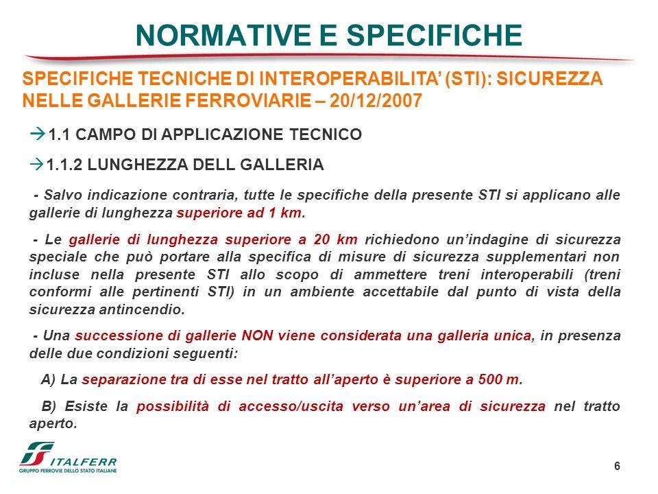 6 NORMATIVE E SPECIFICHE SPECIFICHE TECNICHE DI INTEROPERABILITA (STI): SICUREZZA NELLE GALLERIE FERROVIARIE – 20/12/2007 1.1 CAMPO DI APPLICAZIONE TE